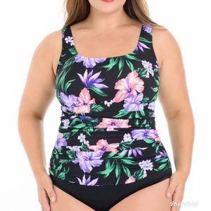Croft & Barrow Floral Body Sculptor Plus Swimsuit
